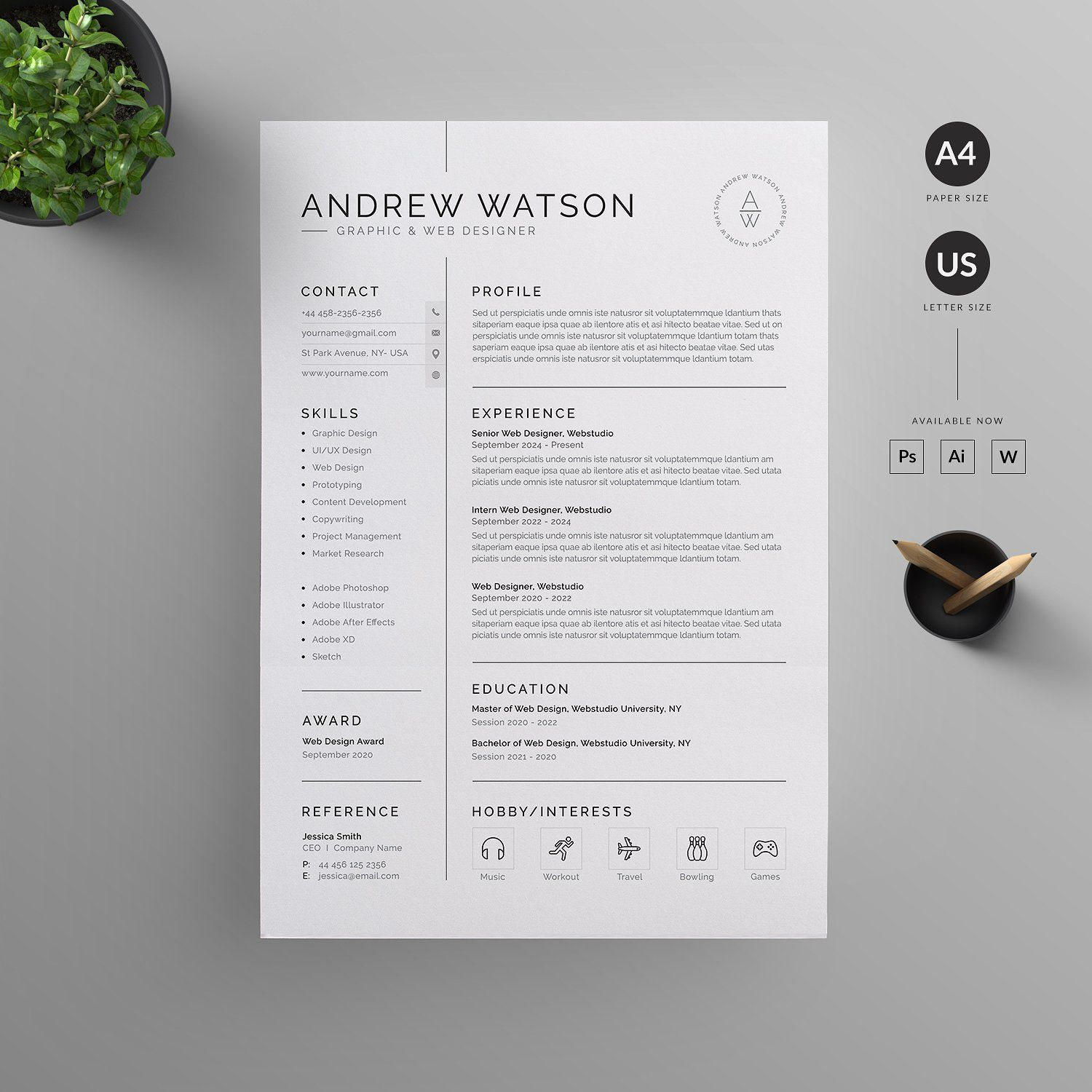 Resume/CV Template. Clean, Modern And Professional Resume
