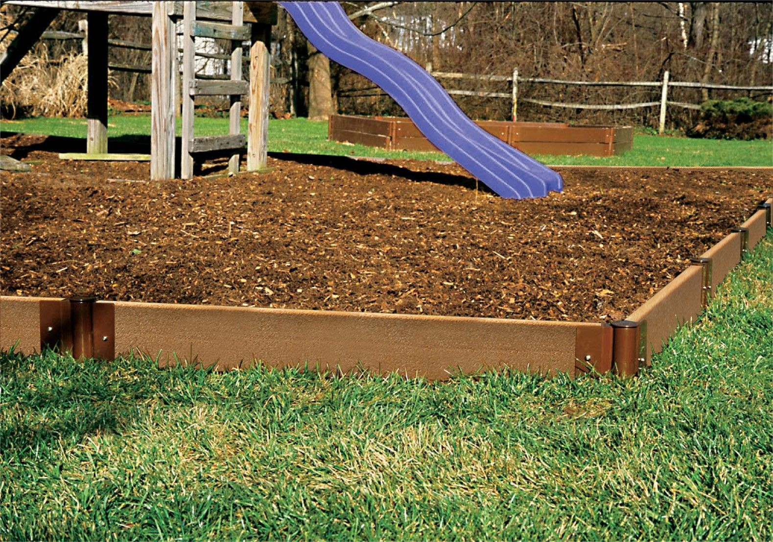 easy inexpensive landscaping ideas wooden landscape edging and mulch or playground chips for. Black Bedroom Furniture Sets. Home Design Ideas