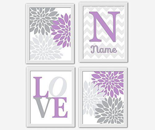 Baby Nursery Wall Art Lavender Gray Purple Personalized Flower Burst Room Fl Decor Prints Love