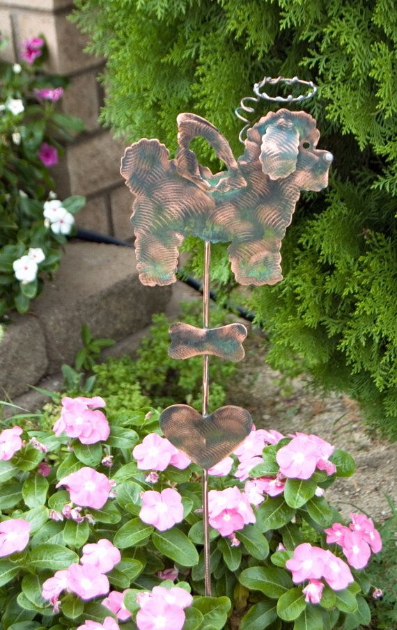 Bichon Frise Garden Stake / Metal Yard Art / Pet Memorial Dog / Copper Art  / Angel Dog / Grave Marker / Sculpture / Garden Decoration