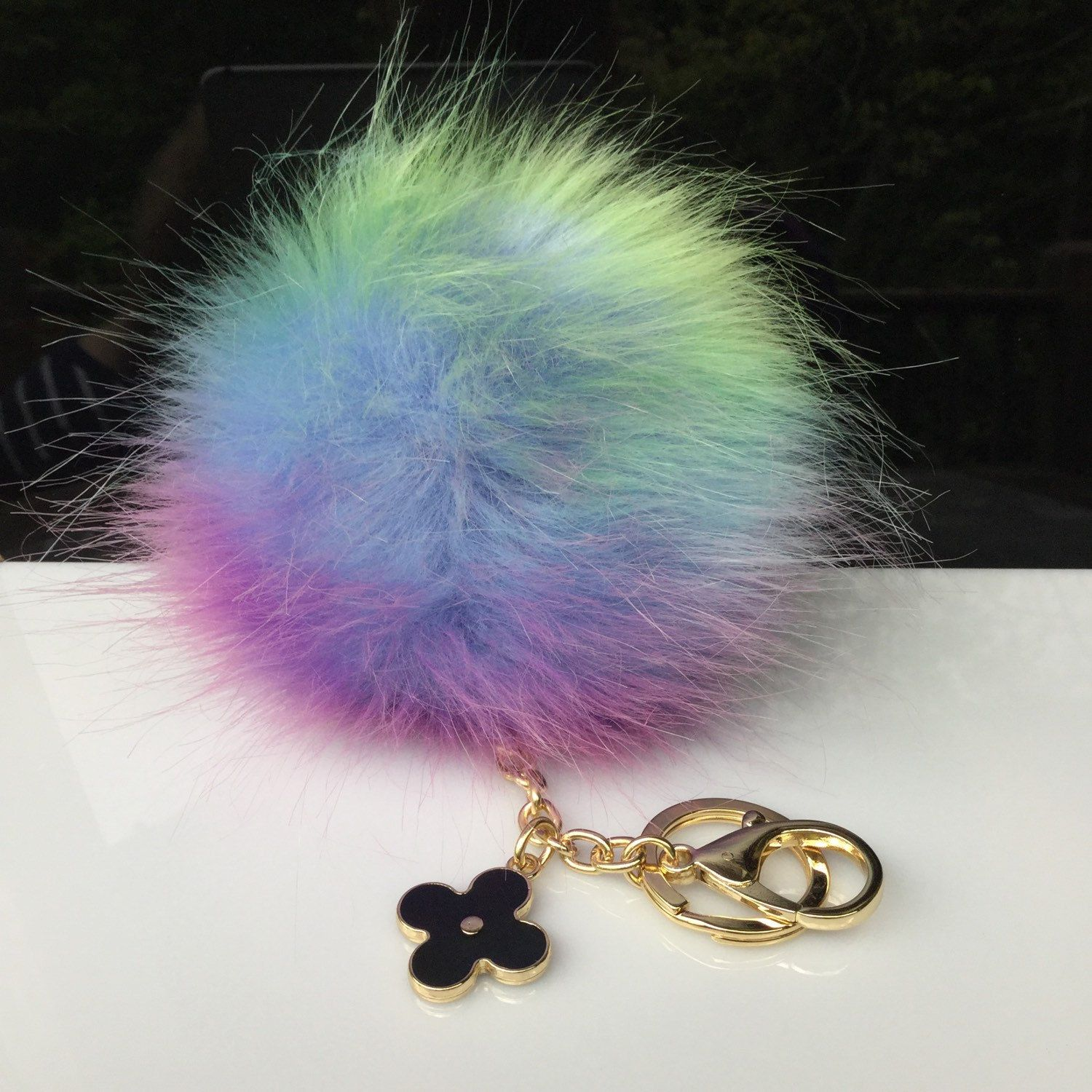 835366d2fc17 Faux Fox Fur Pom Pom bag Keyring Hot Couture Novelty keychain pom pom fake  fur puff keyring rainbow -  15.29 USD