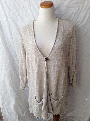 COLDWATER CREEK gray beige Linen Cotton Blend tunic length Cardigan Sweater 2X