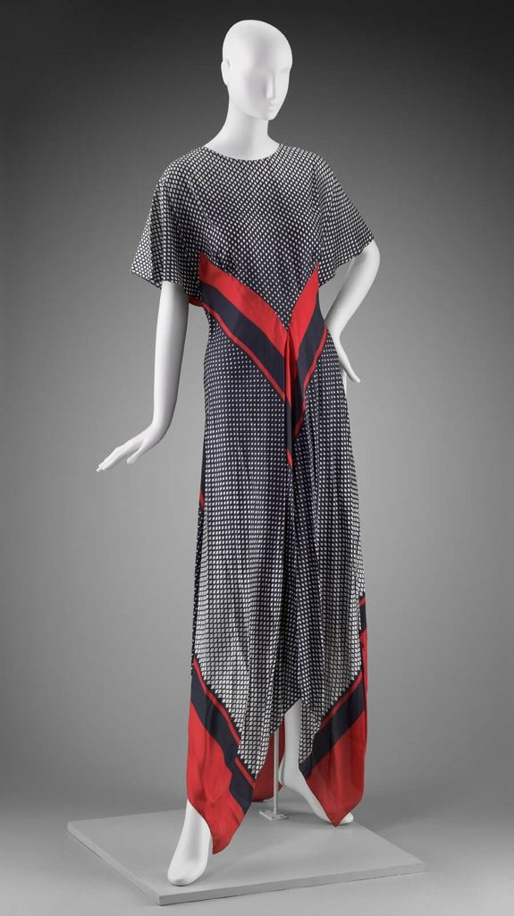 1970s America Womans Dress By Arnold Scaasi Silk Plain Weave
