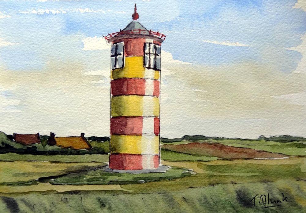 Original Aquarell Leuchtturm Pilsum Antiquitaten Kunst
