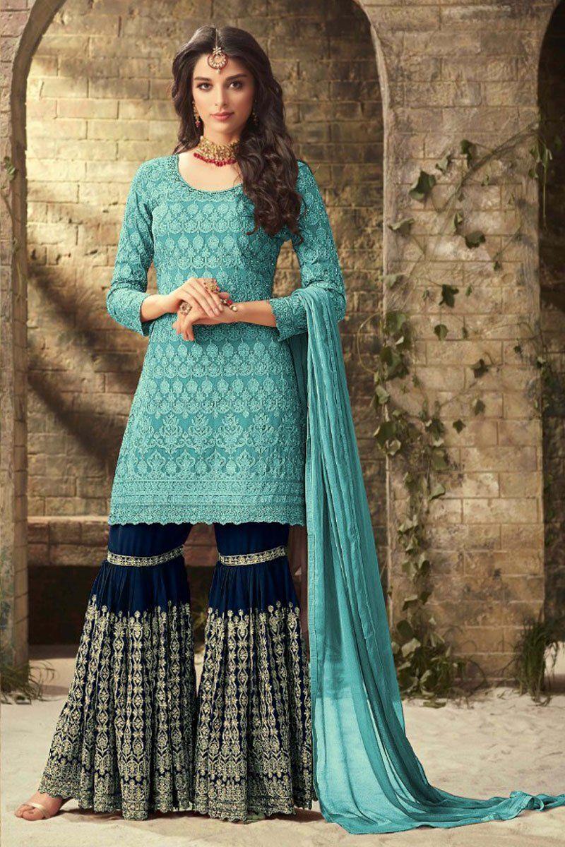 Cyan Blue Designer Sharara Suit - Explore Party Wear Sharara, Gharara Suits at discounted prices ...