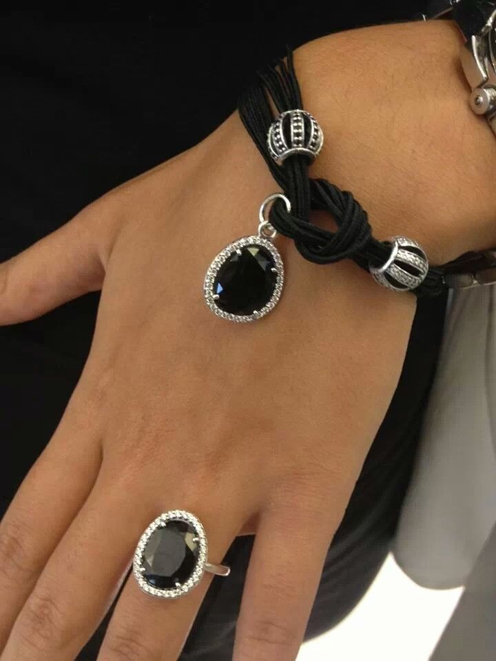 542f03083 PANDORA Black Coloured Cord (Lariat) Bracelet with Black Openwork Pave  Barrel, Black Spinel Dangle and and Matching Ring.