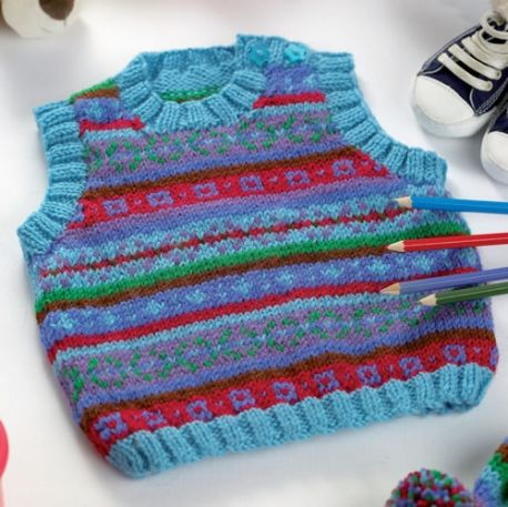 Fair Isle Tank Top and Hat - Free Knitting Pattern for Baby and ...