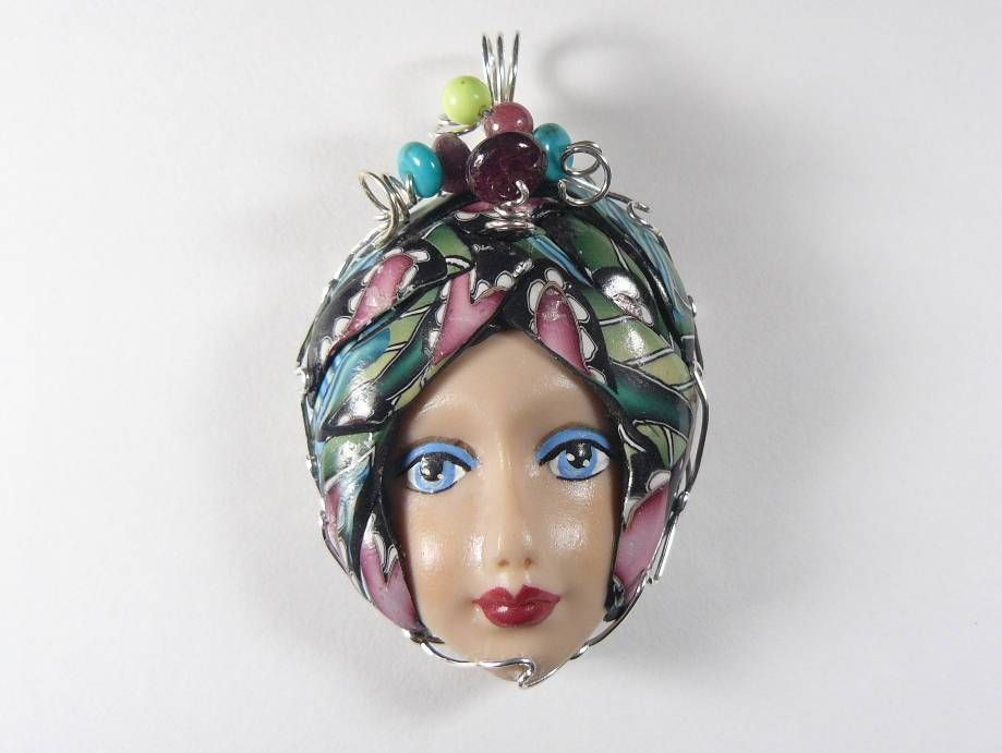 "Polymer Clay Art Doll Face pendant, 1 5/8"" wide, 2 1/4"", wire wrapped, natural accent beads (w41372)x"