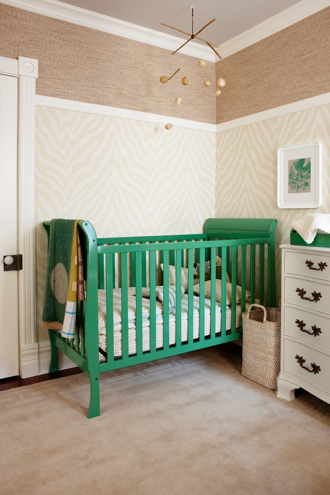 Design Maze nursery beige and white with green accents | nursery ...