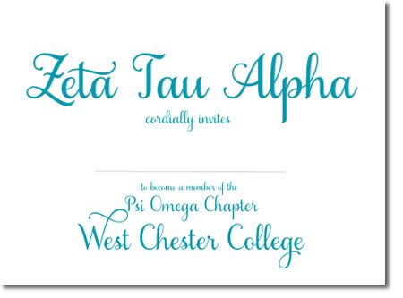 Zeta Tau Alpha Sorority Bid Day Cards - Customized Invitations for your sorority chapter! http://www.trulysisters.com/zeta-tau-alpha-sorority/bid-day-cards/invitation-style-a/