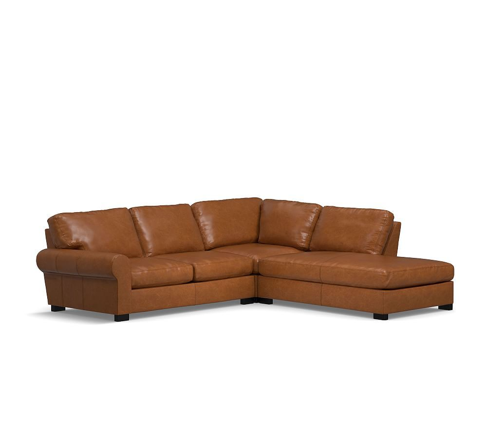 Turner Roll Arm Leather 3 Piece Bumper Sectional Bumper Sectional Sectional 3 Piece Sectional