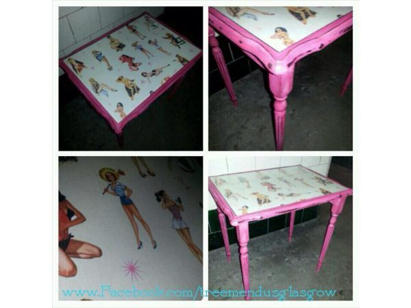 Pink pinup girl table shabby chic upcycled by Treemendus on Etsy, £40.00