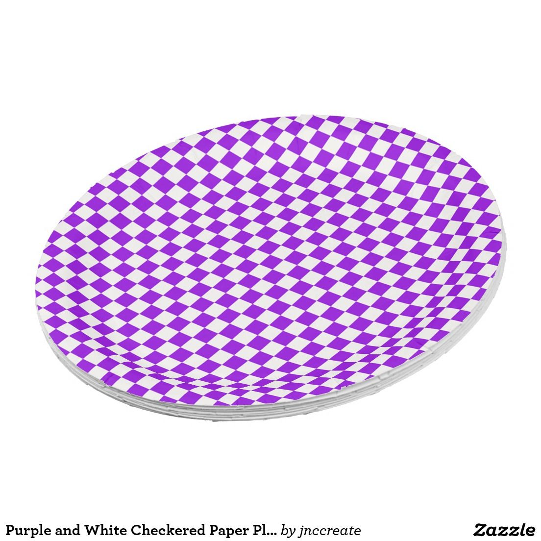 sc 1 st  Pinterest & Purple and White Checkered Paper Plates