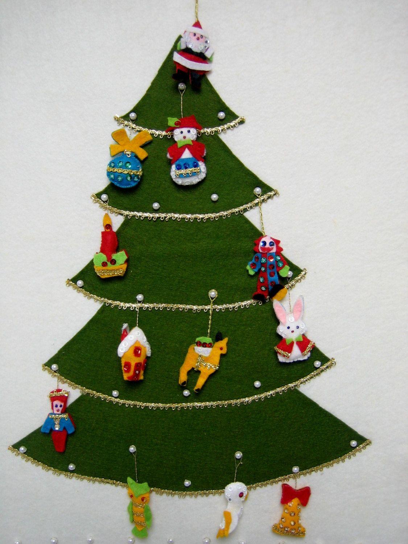Vintage Advent Calendar Countdown to Christmas Felt Beads