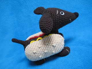 Amigurumi Wiener Dog Pattern : Amigurumi hot dog dachshund animal toy pattern by millionbells