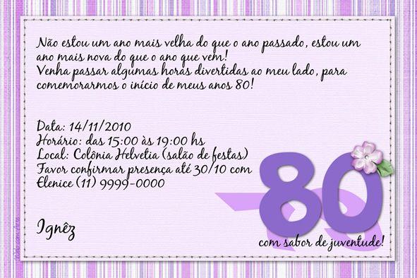 Convite Aniversario Adulto 3 Niver 80 Anos Pinte