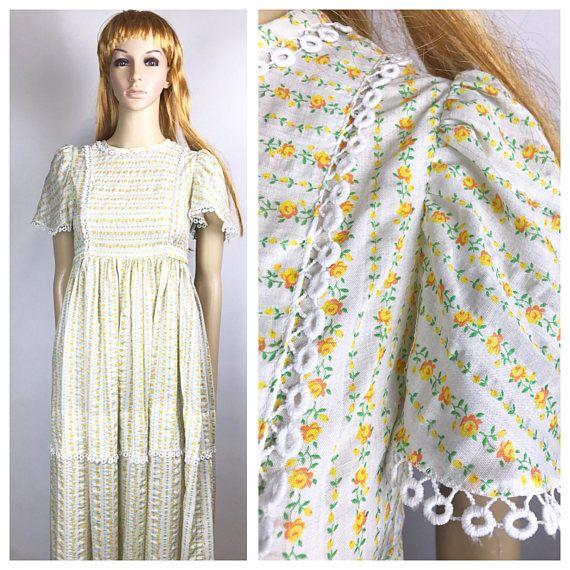cb5adcca33 70s Yellow Prairie Style Maxi Dress Vintage Handmade long