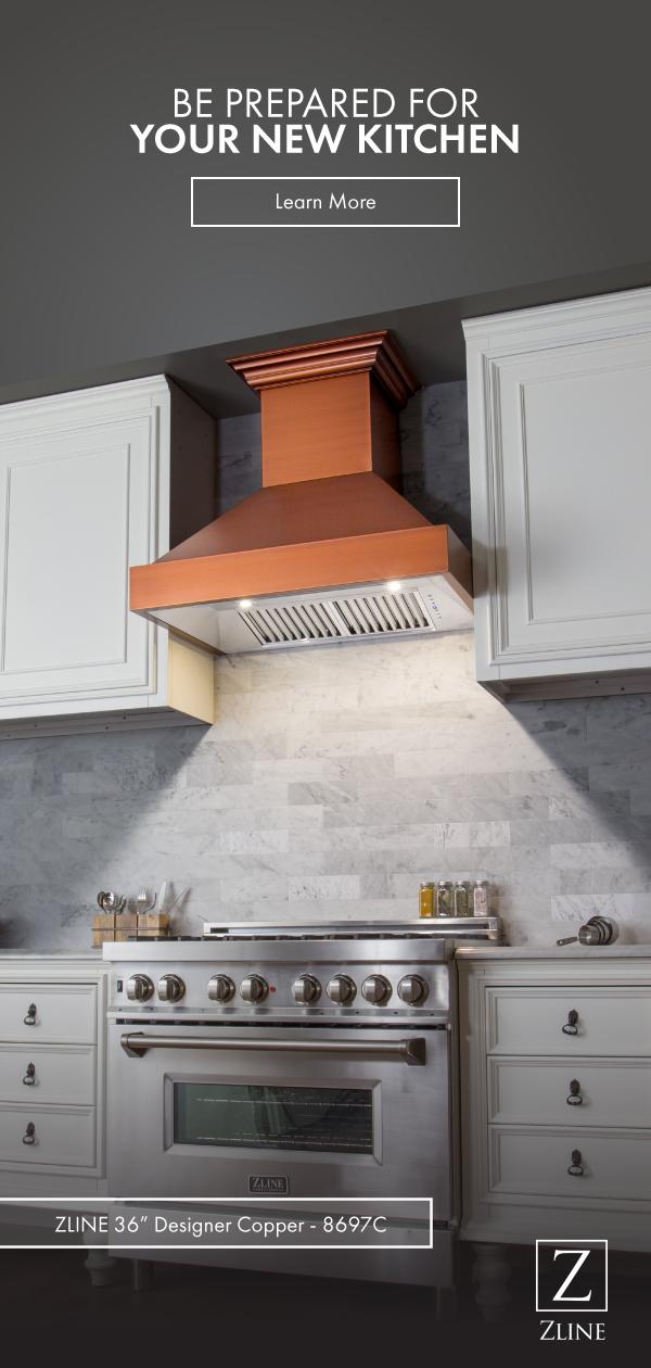 Zline 36 Designer Series Copper Finish Wall Range Hood 8697c 36 Crown Molding 27 5 Kitchen Design New Kitchen Kitchen Ventilation