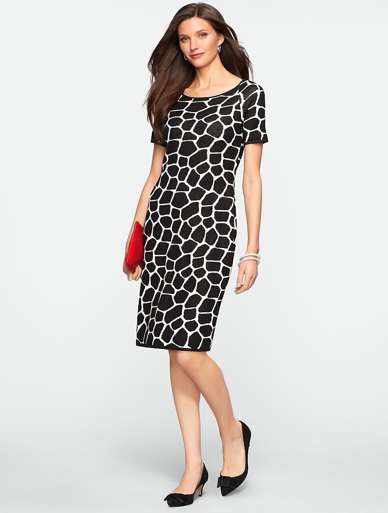 e47e47e5f6c Talbots - Giraffe Jacquard Sweater Dress