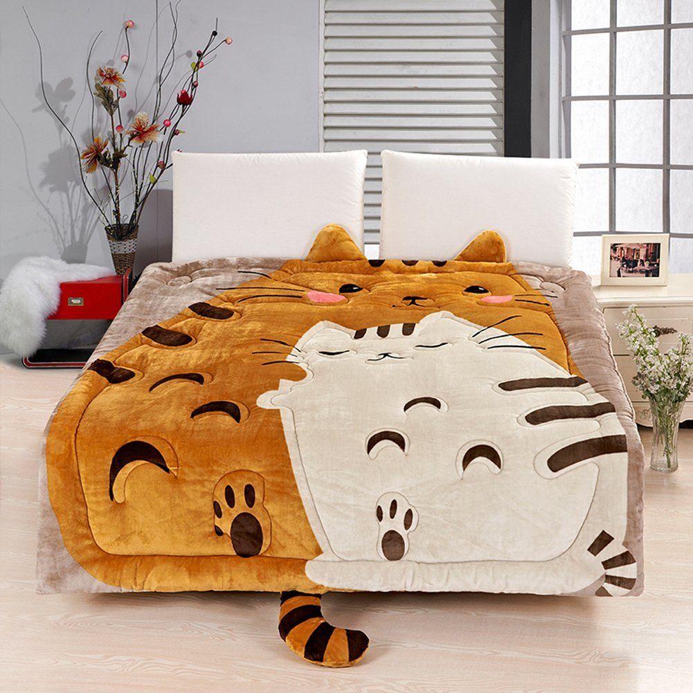 MeMoreCool Upgrade Flannel Totoro Bed Cover,Cute Cartoon
