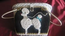!ONLY ONE :) Vintage Midas, Miami Silk Poodle BLK/WHT Wicker Purse  :) ONLY ONE!