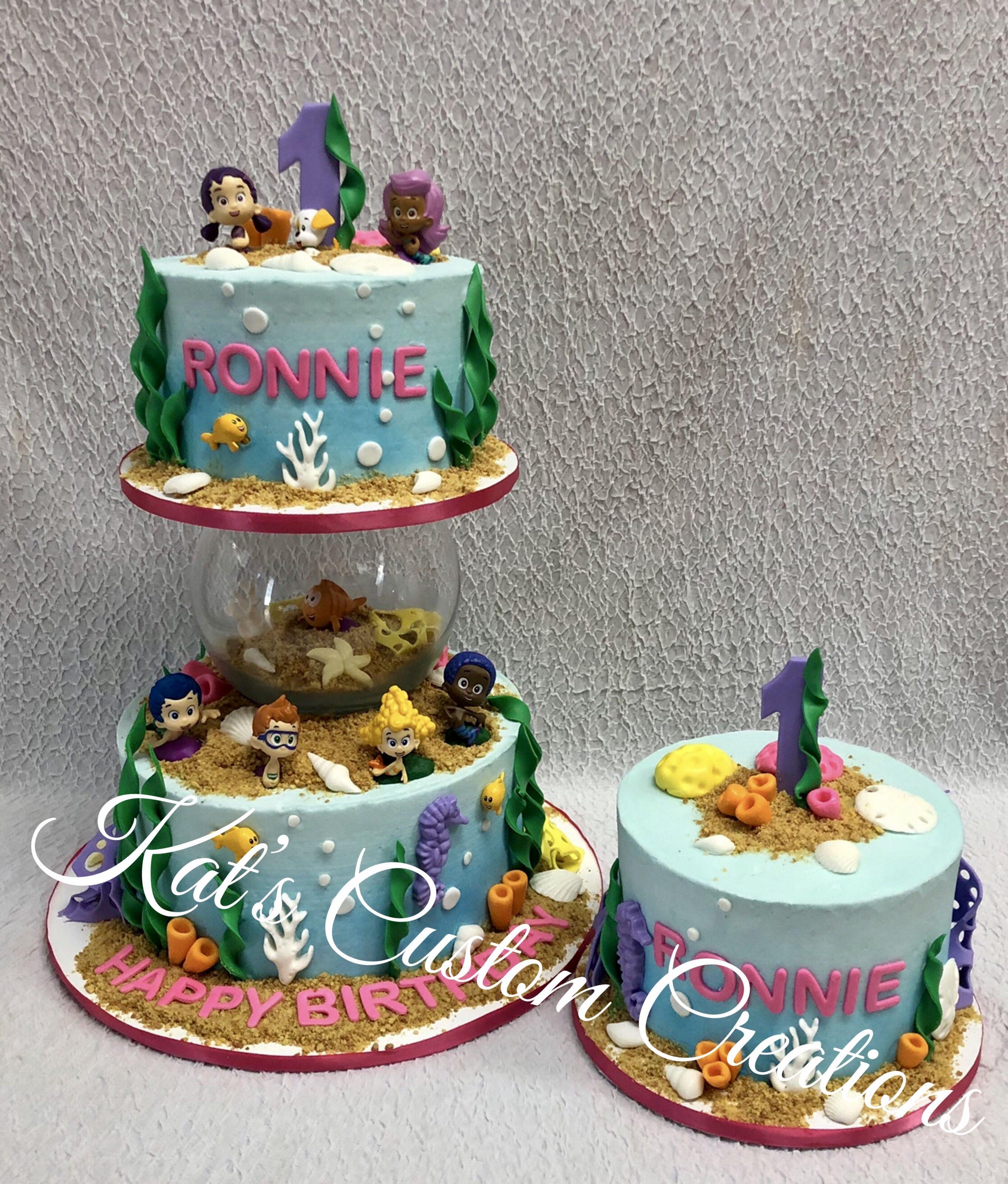 Fabulous Bubble Guppies 1St Birthday Cake And Smash Cake First Birthday Funny Birthday Cards Online Hetedamsfinfo