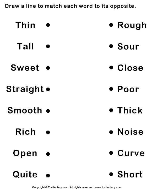 image result for opposites adjectives worksheet