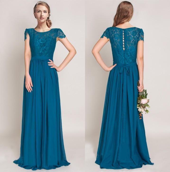 Lace Teal Bridesmaid Dresses Cap Sleeve A Line Jewel Neck