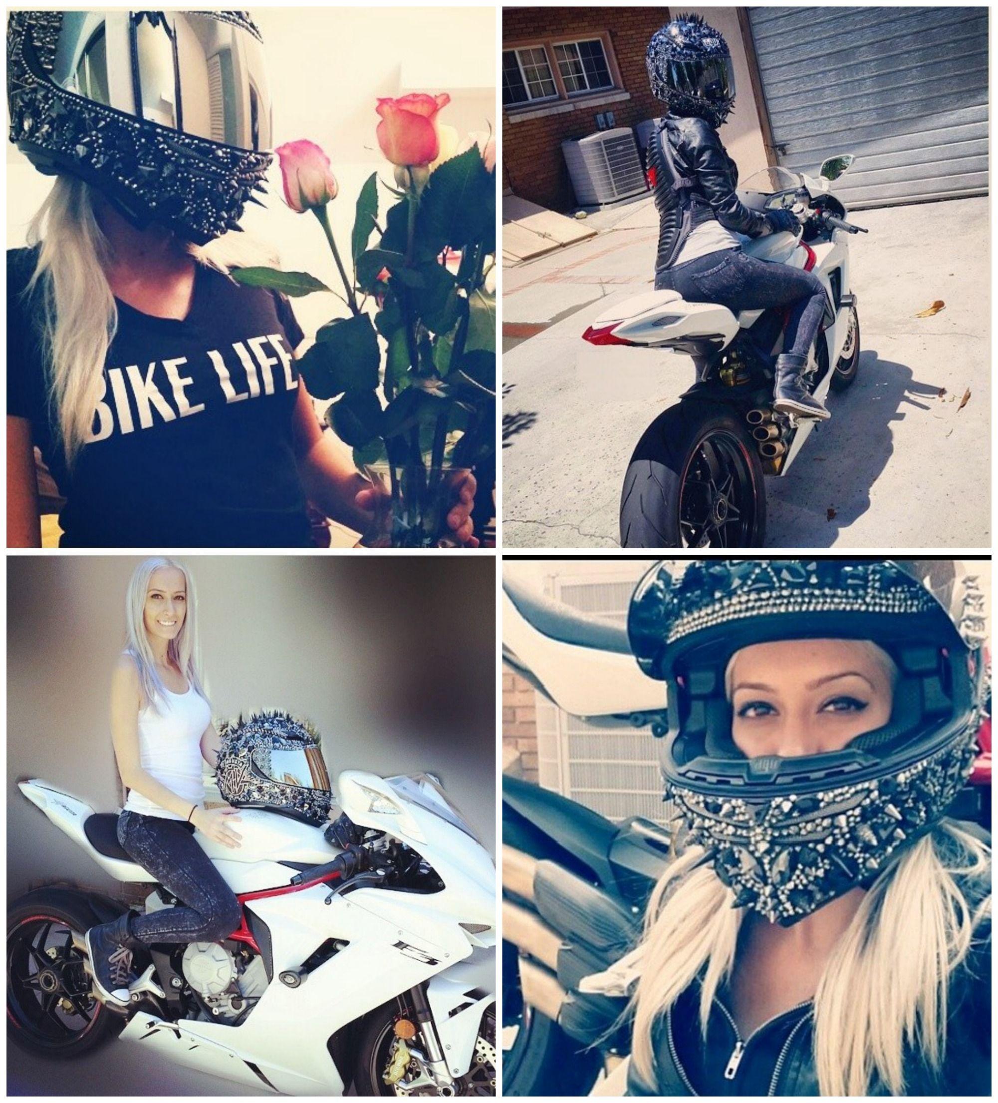 Crystal and spike helmet collage from @bikerdee