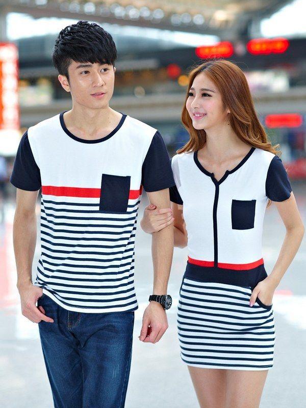 25981c8e98 Stripe Pocket Loose Simple Couples Shirt | Couple shirts | Couple ...