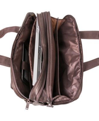 4714cf284544 Kenneth Cole Reaction Columbian Leather Expandable Double Gusset Laptop  Briefcase - Brown