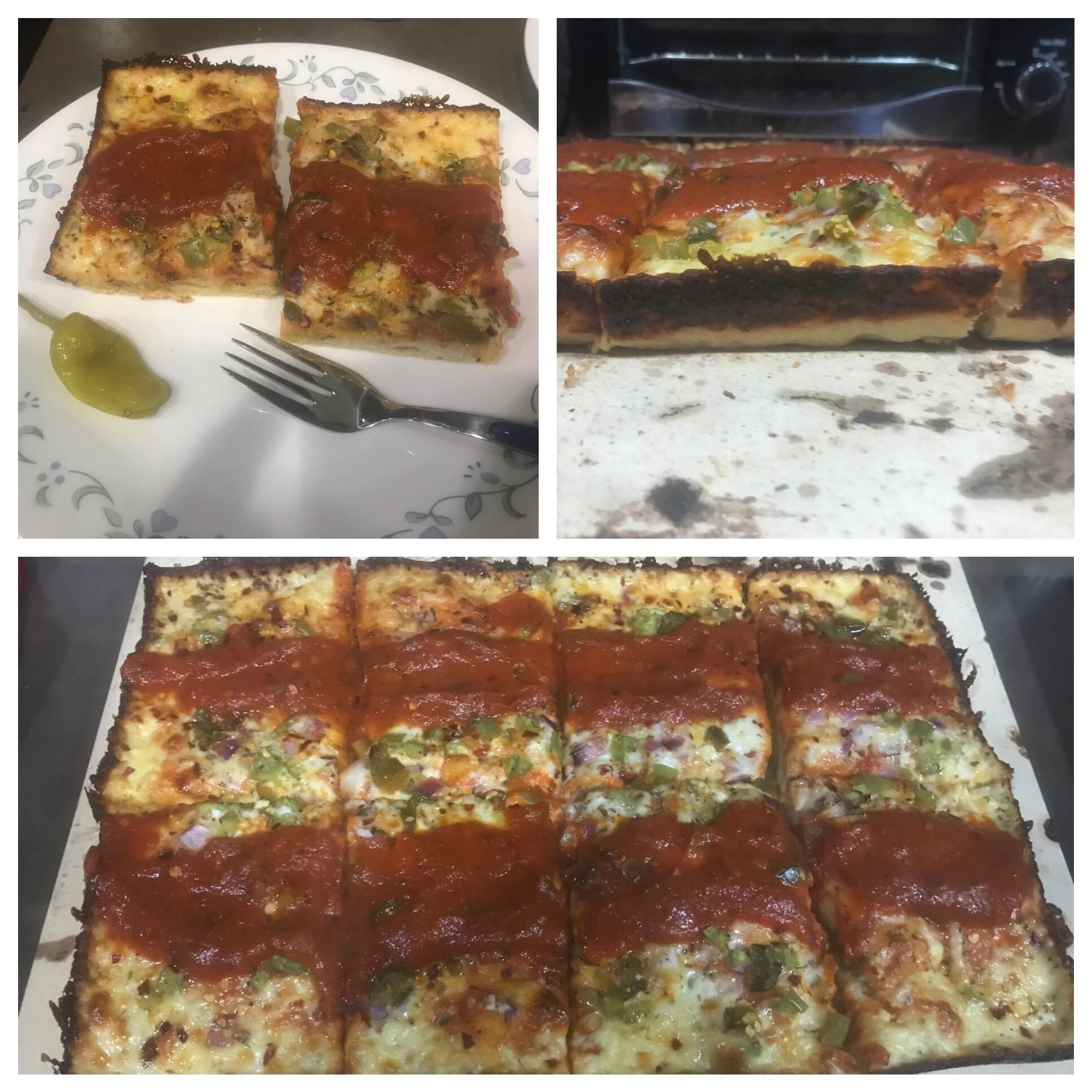 Made my first Detroit style pizza. Rectangle pie Wisconsin brick Cheese carmelized cheese crust and two strips of sauce on top! #pizza #food #foodporn #yummy #love #dinner #salsa #recipe