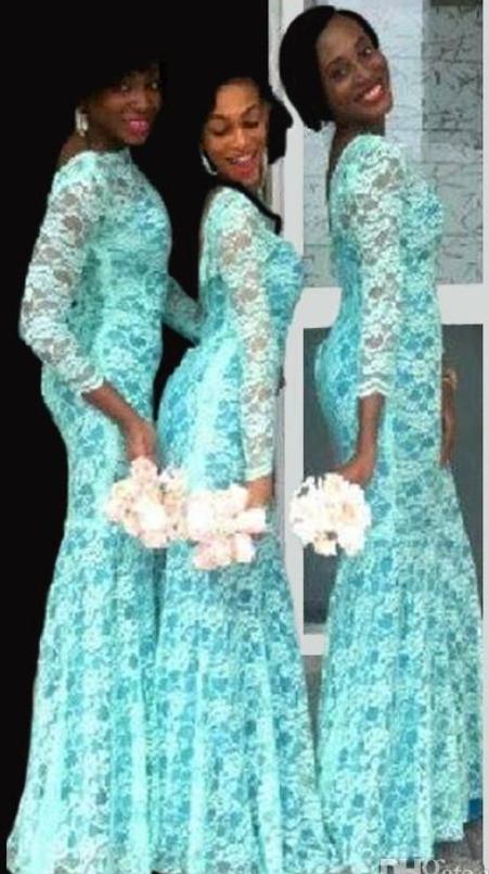 New Elegant Lace Bridesmaid Dresses Bateau 3/4 Long Sleeves Mermaid ...