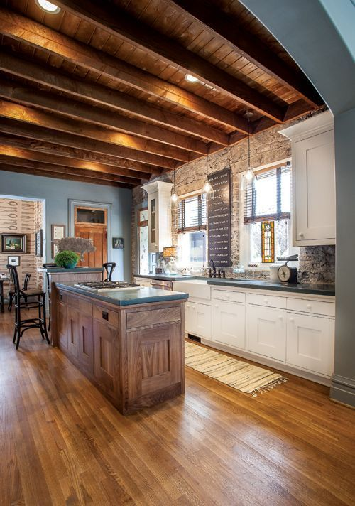 Exposed Joist Ceiling Kitchen Google Search Home Decor Kitchen Home Home Kitchens