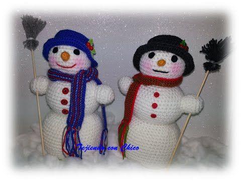 Tutorial De Amigurumis Navideños : Tutorial amigurumi muñeco de nieve nariz bufanda escoba