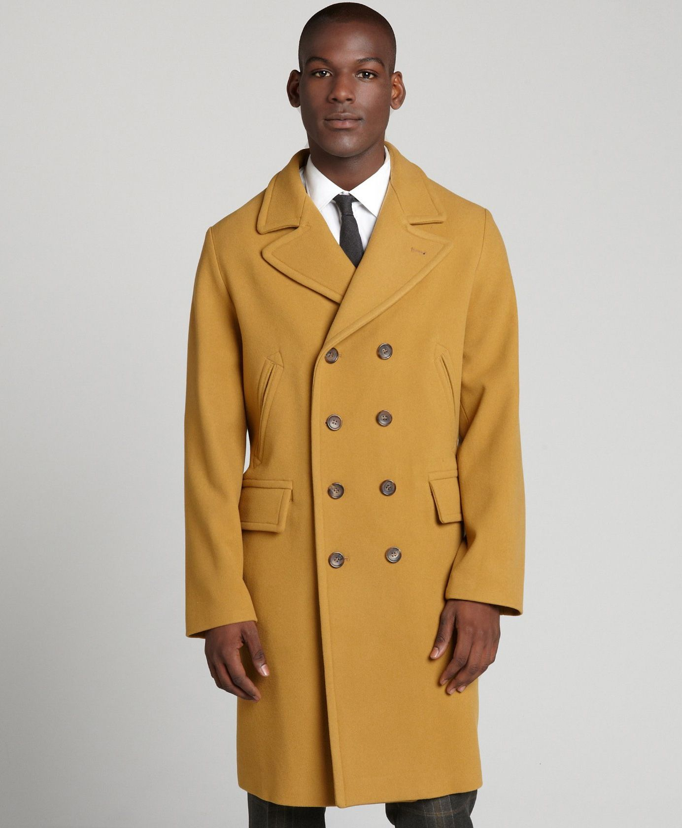 48564f4616 GUCCI Mustard Wool-Cashmere Double-Breasted Peacoat | Menswear ...