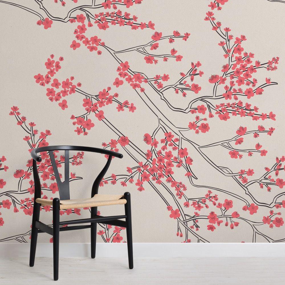 Cherry Blossom Pattern Wallpaper Muralswallpaper In 2021 Pattern Wallpaper Cherry Blossom Wallpaper Mural Wallpaper