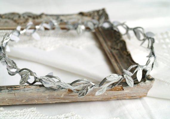 Silver leaf crown, Hair chain, Greece headband, Floral crown, greek goddess headpiece, Adults HALO crown, Bridal crown, Silver gray, Circlet