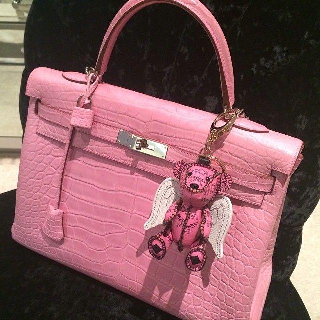 81132b34d0f Hermes Kelly croc in Bubblegum pink w  mcm bag charm   dress up in ...