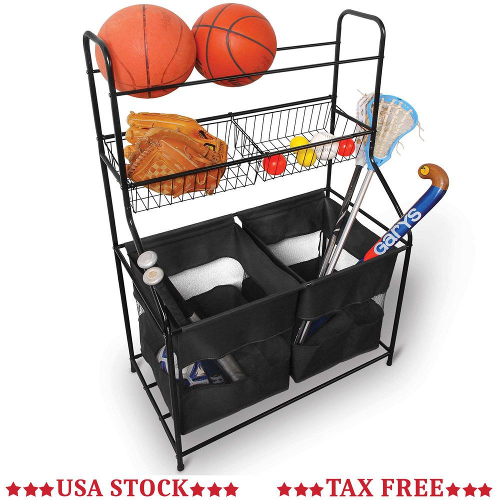 Garage Sport Equipment Organizer Metal Rack Cubby Ball Shelves Storage Basket