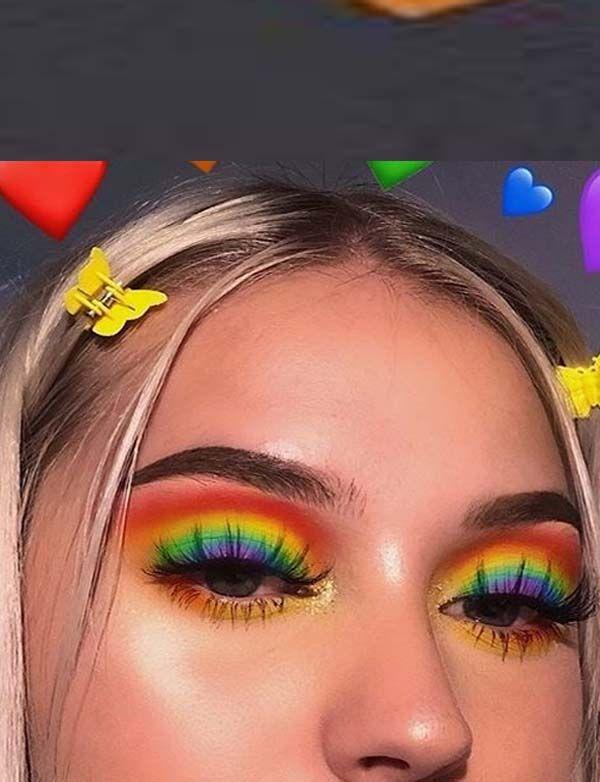 Modern Rainbow Palette Eye Makeup Ideas For Women In 2019 In 2020