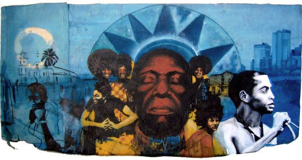 Ver mais pinturas e colagem sobre m ú sica na p á gina : Blues - Jazz - Afrobeat Afro Beat 50 x 90 x 2 cm - técnicas mistas sobre madeira 2011