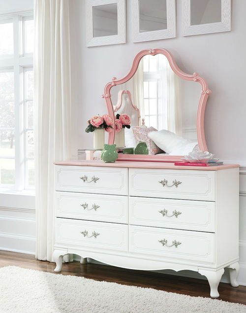 Best Ashley Laddi White Pink Dresser Mirror In 2019 Pink 400 x 300