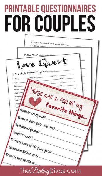 A Few of Our Favorite Things Questionnaires for Couples Favorite - printable surveys