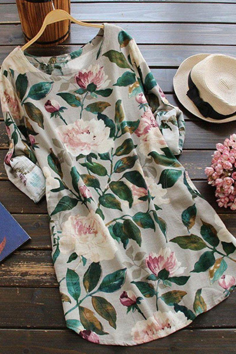 e56304784e6 All Over Floral Print Linen Shift Dress in 2019