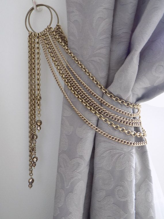 Swarovski Crystals Tieback Decorative Bronze Chains