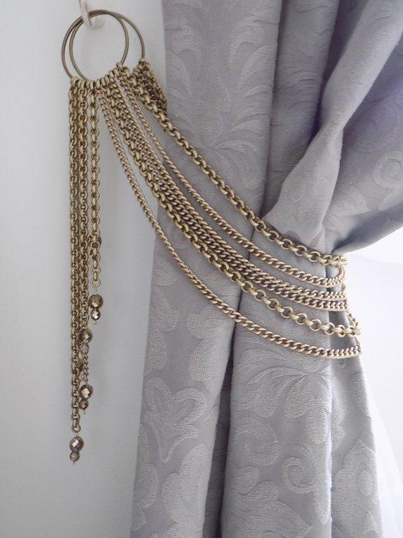 Decorative bronze chains tieback with glass pendants drapery holder