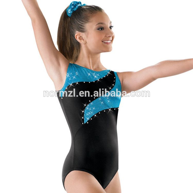 New girls gymnastic leotard metallic turquoise with silver top