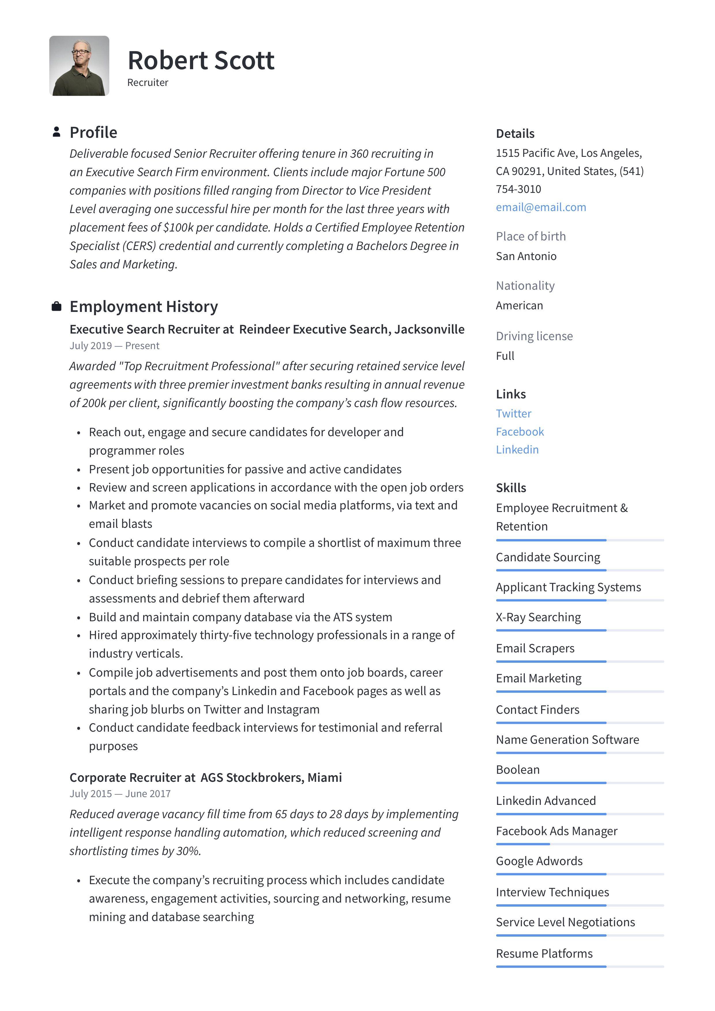 22++ Recruiter resume summary examples ideas