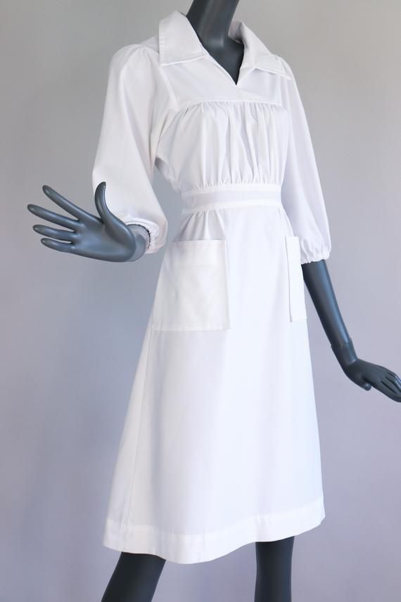 Vintage 70s Nurse Uniform White Halloween Costume Dress 1970s Retro Diner Waitress Lab Secretary Fit and Flare Smock Medium #retrodiners